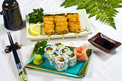 Alimento japonês, maki do menu Fotografia de Stock Royalty Free