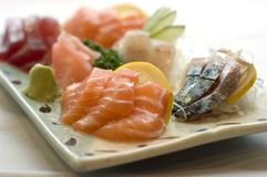 Alimento japonês, menu do Sashimi imagens de stock