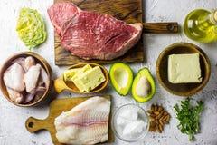 Alimento Ketogenic di dieta Fondo a basso contenuto di carboidrati equilibrato dell'alimento   fotografie stock libere da diritti