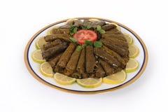 Alimento libanese dell'uva farcita e del riso decorati Fotografie Stock