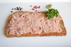 Alimento, Liversausage, salsiccia, Butscher, GermanSausage, più breakfest, partyfood Fotografia Stock Libera da Diritti