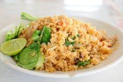 Alimento local tailandês, arroz fritado da carne de porco. Fotos de Stock Royalty Free