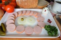 Alimento, Lyoner, salsicha, salsicha alemão Lyoner, salsicha da Bolonha, Fleischwurst alemão, salsicha alemão Lyonerring, anel da imagem de stock