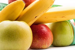 Alimento, mele e banane sani Fotografia Stock Libera da Diritti