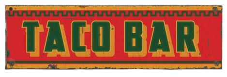 Alimento messicano Tin Sign Vintage Rustic della salsa di Antivari del taco fotografie stock libere da diritti