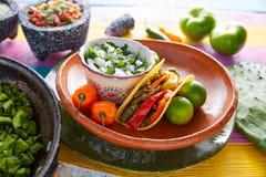 Alimento mexicano do taco do Nopal com pimenta de pimentão foto de stock royalty free