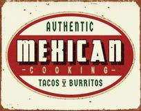 Alimento mexicano do vintage que cozinha sinal da lata dos tacos e dos Burritos fotografia de stock royalty free