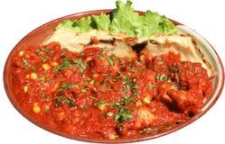 Alimento mexicano Taco de galinha, nachos e molho de tomate Foto de Stock Royalty Free