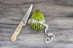 Alimento minuscolo crudo e non maturo del melone per perdere peso, intestini del melone di funzionamento, vitelli ipocalorici, Immagine Stock
