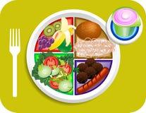 Alimento mis porciones del almuerzo de la placa Fotos de archivo libres de regalías