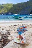 Alimento na costa de mar Imagens de Stock Royalty Free