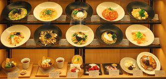 Alimento na exposição em Japão fotografia de stock