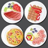Alimento nas placas Imagem de Stock