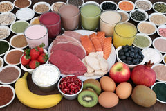 Alimento natural e bebidas do body building imagem de stock royalty free
