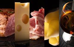 Alimento natural Folha da foto collage imagens de stock