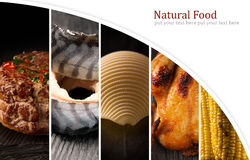 Alimento natural Folha da foto collage fotografia de stock