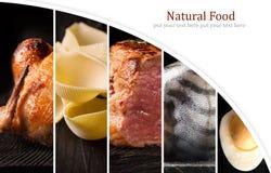 Alimento natural Folha da foto collage imagens de stock royalty free