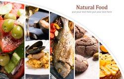Alimento natural Folha da foto collage imagem de stock