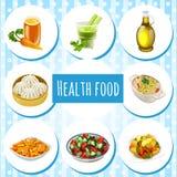 Alimento natural, oito ícones dos pratos e bebidas Imagens de Stock Royalty Free