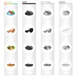 Alimento, no espeto em uma placa, ovo quebrado, salada vegetal, salsichas fritadas com tempero Alimento e grupo do cozimento Fotografia de Stock