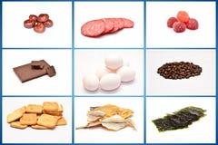 Alimento no fundo branco collage imagem de stock