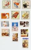 Alimento nos selos emitidos em Cuba, France, México, Rússia, Switzerla Foto de Stock Royalty Free