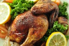 Alimento occidentale delizioso arrostito del fondo del pollo immagine stock