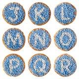 Alimento olandese: 'il beschuit ha incontrato l'alfabeto dei muisjes', J-R Immagine Stock