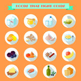 Alimento para ícones frios Imagens de Stock
