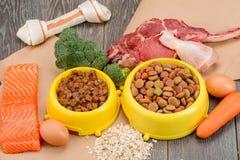 Alimento para cães úmido e seco fotografia de stock royalty free