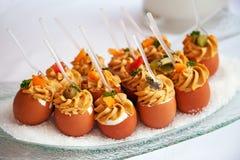 Alimento para o cocktail no banquete de casamento Fotografia de Stock Royalty Free