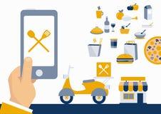 Alimento pedindo em linha com app móvel Imagens de Stock Royalty Free
