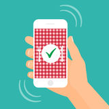 Alimento pedindo em linha com ilustração do estoque do smartphone Imagens de Stock Royalty Free