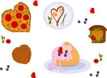 Alimento per il giorno di biglietti di S. Valentino royalty illustrazione gratis