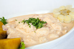 Alimento peruviano: ceviche in salsa di rocotto (peperoncino rosso) Immagine Stock Libera da Diritti