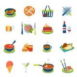 Alimento piano di vettore ed icona infographic della bevanda: menu del ristorante illustrazione di stock