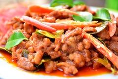 Alimento piccante della carne di maiale con il pomodoro della fetta di alimento tailandese Immagini Stock Libere da Diritti