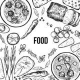 Alimento pintado em um fundo branco Pilau, espaguetes e torta ilustração do vetor