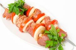 Alimento preparado para o kebab do shish imagem de stock