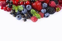 alimento Preto-azul e vermelho em um branco Mirtilos maduros, corintos vermelhos, framboesas, morangos com hortelã em um fundo br Fotografia de Stock