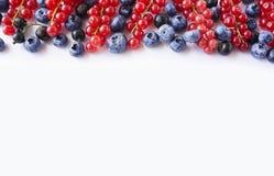 alimento Preto-azul e vermelho em um branco Mirtilos maduros, corintos vermelhos e corintos pretos em um fundo branco Fotografia de Stock Royalty Free