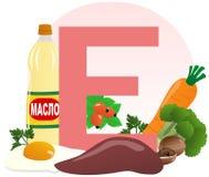 Alimento que contém a vitamina E Fotografia de Stock