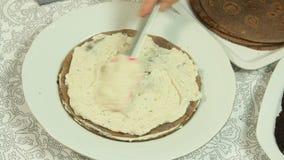 Alimento que denomina a receita do bolo do crepe video estoque