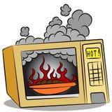 Alimento que queima-se no forno de microonda ilustração royalty free
