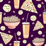 Alimento rosa porpora di notte di film del pigiama party di vettore illustrazione vettoriale