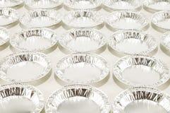 Alimento rotondo del foglio di alluminio isolato Fotografie Stock