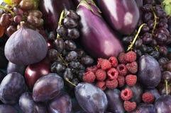 Alimento roxo Fundo das bagas, frutas e legumes Imagens de Stock