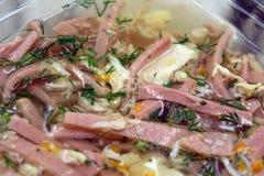 Alimento ruso tradicional Jalea del pollo del áspide con eneldo foto de archivo libre de regalías