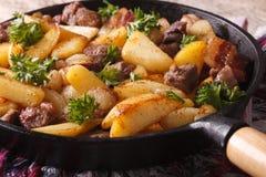 Alimento rustico: patate fritte con carne e bacon in un primo piano della pentola immagine stock libera da diritti