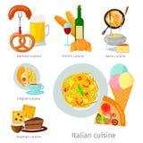 Alimento saboroso do jantar da culinária europeia do alimento do vetor que mostra a Itália luxuoso delicioso Roma a placa rústica Imagem de Stock Royalty Free
